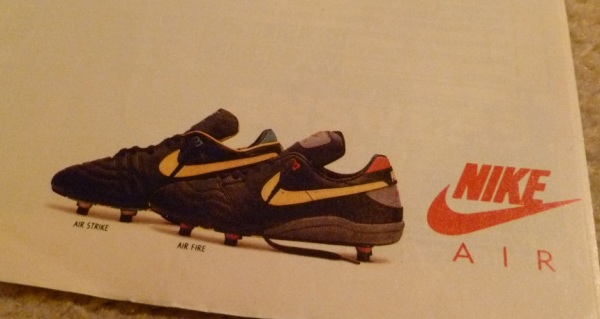 nike air strike air fire football boot running shoes advert close up