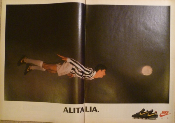 nike air strike air fire ian rush juventus diving header alitalia advert